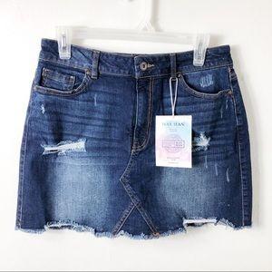 NWT Wax Jean Denim Distressed Mini Skirt
